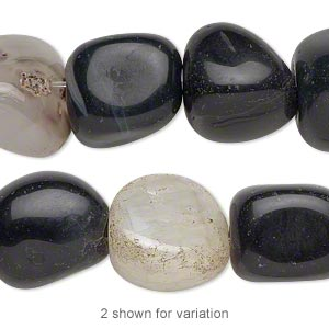 Bead, Black Agate (dyed), Medium Tumbled Nugget, Mohs Hardness 6-1/2 7. Sold Per 16-inch Strand