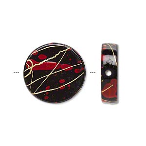 Bead, Acrylic, Black Red Speckles Gold-colored Striping, 19mm Flat Round. Sold Per Pkg 70