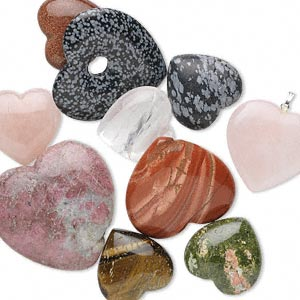 Gift mix, gemstone (natural / manmade), 30x28mm-49x18mm undrilled heart. Sold per 1/2 pound pkg, approximately 7 to 12 hearts.