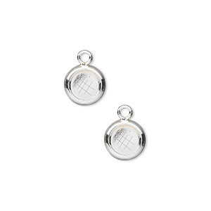 Drop, Sterling Silver, 8mm Solid Back Round 6mm Round Bezel Cup Setting. Sold Per Pkg 2