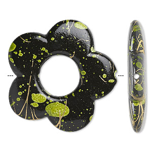 Bead, Acrylic, Black Green Speckles Gold-colored Striping, 32x32mm Flat Open Flower 11mm Center Opening. Sold Per Pkg 40