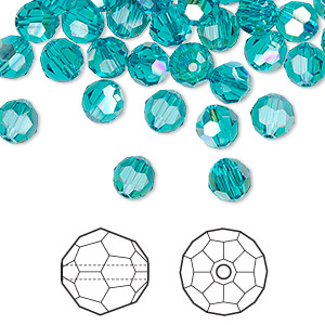 8294278d7 Bead, Swarovski® crystals, blue zircon AB, 6mm faceted round (5000 ...
