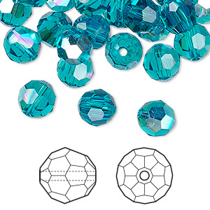 b503b80ef Bead, Swarovski® crystals, blue zircon AB, 8mm faceted round (5000). Sold  per pkg of 144 (1 gross). - Fire Mountain Gems and Beads