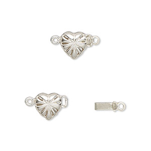 Clasp, JBB Findings, Tab, Sterling Silver, 7.5x7.5mm Heart Star Pattern. Sold Individually 4289LSH