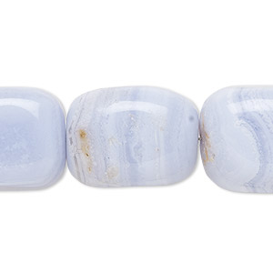 Bead, Blue Lace Agate (natural), Large Tumbled Nugget, Mohs Hardness 6-1/2 7. Sold Per 16-inch Strand 5884GS