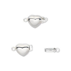 Clasp, JBB Findings, Tab, Sterling Silver, 8.5mm Puffed Heart. Sold Individually 951160SH