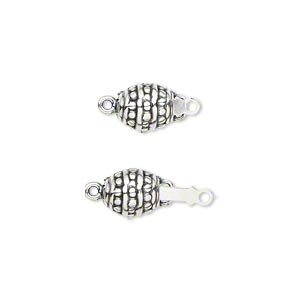 Clasp, JBB Findings, Tab Safety, Antiqued Sterling Silver, 15x7mm Oval Beaded Dot Design. Sold Individually BP207L-SILVER 5910FN
