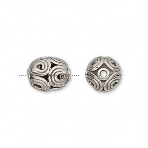 Beads Sterling Silver Silver Colored