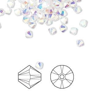Bead, Swarovski® Crystals, Crystal Passions®, Crystal AB2X, 4mm Xilion Bicone (5328). Sold Per Pkg 48 5328