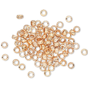 Bead, Gold-plated Brass, 3mm Corrugated Rondelle. Sold Per Pkg 100