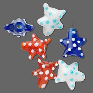 Bead, Glass, Assorted Colors, 16x15mm Starfish Spots. Sold Per Pkg 6