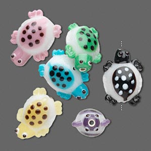 Bead, Lampworked Glass, Assorted Colors, 18x14mm Turtle Dots, 2.7-2.8mm Hole. Sold Per Pkg 6