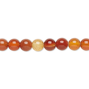 Bead, Red Agate (dyed / Heated), 6mm Round, B Grade, Mohs Hardness 6-1/2 7. Sold Per 16-inch Strand 5941GS