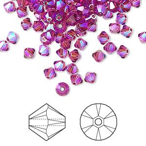 Bead, Swarovski® Crystals, Fuchsia AB2X, 4mm Xilion Bicone (5328). Sold Per Pkg 48 5328