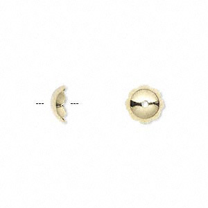 Bead Cap, Gold-plated Brass, 8x3mm Scalloped Round, Fits 8-10mm Bead. Sold Per Pkg 100