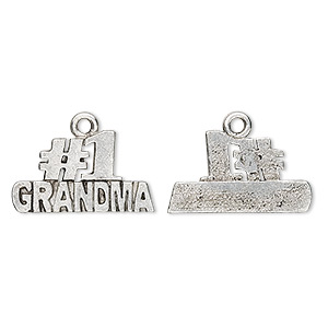 Charm, Antiqued Pewter (tin-based Alloy), #1 Grandma, 21x12mm. Sold Per Pkg 4
