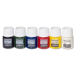 Porcelain Paint, Pebeo, Assorted Colors. Sold Per Pkg (6) 20-milliliter Bottles 01/06/16/27/42/43
