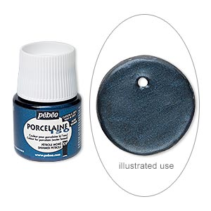 Porcelain Paint, Pebeo, Opaque Shimmer Petroleum Blue. Sold Per Pkg 45-milliliter Bottle 109