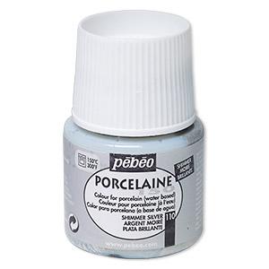 Porcelain Paint, Pebeo, Opaque Shimmer Silver. Sold Per Pkg 45-milliliter Bottle 110