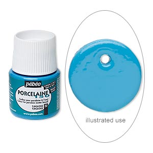 Porcelain Paint, Pebeo, Opaque Turquoise Blue. Sold Per Pkg 45-milliliter Bottle 20