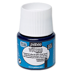 Glass Paint, Pebeo, Transparent Turquoise Blue. Sold Per Pkg 45-milliliter Bottle 11
