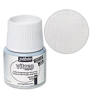 Glass Paint, Pebeo, Opaque Shimmer Silver. Sold Per Pkg 45-milliliter Bottle 66