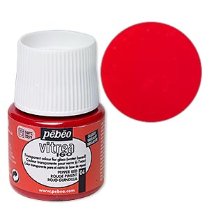 Glass Paint, Pebeo, Transparent Pepper Red. Sold Per Pkg 45-milliliter Bottle 04