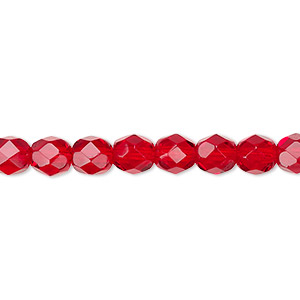 Bead, Czech Fire-polished Glass, Transparent Ruby Red, 6mm Faceted Round. Sold Per 16-inch Strand, Approximately 65 Beads 152-19001-00-6mm-90090