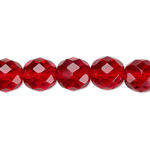 Bead, Czech Fire-polished Glass, Translucent Ruby Red, 10mm Faceted Round. Sold Per 16-inch Strand, Approximately 40 Beads 152-19001-00-10mm-90090