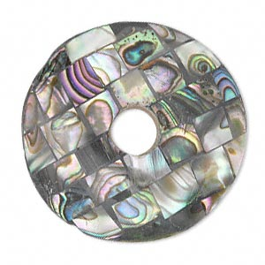 Focal, Paua Shell Resin (assembled), 37mm Round Donut. Sold Individually