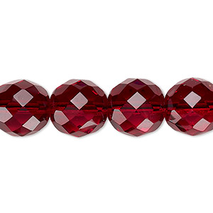 Bead, Czech Fire-polished Glass, Garnet Red, 12mm Faceted Round. Sold Per 16-inch Strand, Approximately 35 Beads 152-19001-00-12mm-90110