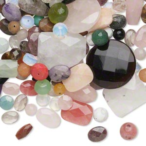 Bead Mix, Multi-gemstone Glass (natural / Dyed / Stabilized / Imitation), Mixed Colors, 10-40mm Faceted Mixed Shape, C Grade. Sold Per 1-pound Pkg, Approximately 170-200 Beads