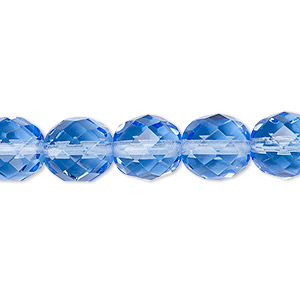 Bead, Czech Fire-polished Glass, Transparent Sapphire Blue, 10mm Faceted Round. Sold Per 16-inch Strand, Approximately 40 Beads 152-19001-00-10mm-30030