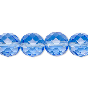 Bead, Czech Fire-polished Glass, Sapphire Blue, 12mm Faceted Round. Sold Per 16-inch Strand, Approximately 35 Beads 152-19001-00-12mm-30030