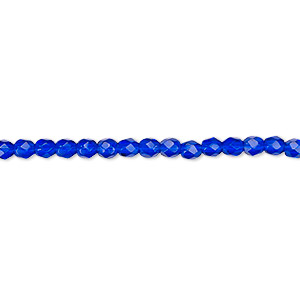Bead, Czech Fire-polished Glass, Cobalt, 3mm Faceted Round. Sold Per 16-inch Strand, Approximately 130 Beads 152-19001-00-3mm-30080