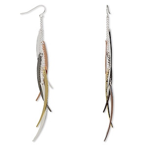 Fishhook Earrings Mixed Metals Multi-colored