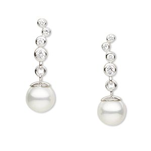 Earstud Earrings Glass Whites