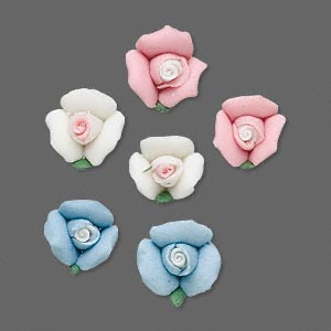 Embellishment, Porcelain, Assorted Colors, 10mm Undrilled Rosebud. Sold Per Pkg 3 Pairs