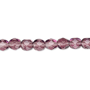 Bead, Czech Fire-polished Glass, Transparent Amethyst Purple, 6mm Faceted Round. Sold Per 16-inch Strand, Approximately 65 Beads 152-19001-00-6mm-20060