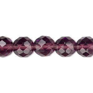 Bead, Czech Fire-polished Glass, Translucent Amethyst Purple, 10mm Faceted Round. Sold Per 16-inch Strand, Approximately 40 Beads 152-19001-00-10mm-20060