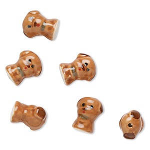 bead porcelain 18x15mm dog sold per pkg of 6 fire mountain gems and beads