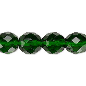 Bead, Czech Fire-polished Glass, Emerald Green, 12mm Faceted Round. Sold Per 16-inch Strand, Approximately 35 Beads 152-19001-00-12mm-50140