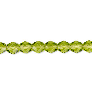 Bead, Czech Fire-polished Glass, Transparent Olivine, 6mm Faceted Round. Sold Per 16-inch Strand, Approximately 65 Beads 152-19001-00-6mm-50230