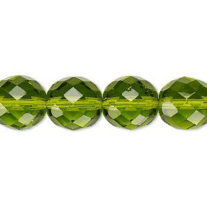 Bead, Czech Fire-polished Glass, Olivine, 12mm Faceted Round. Sold Per 16-inch Strand, Approximately 35 Beads 152-19001-00-12mm-50230