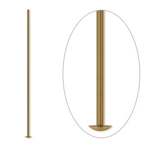Headpin, Antique Gold-plated Brass, 1-1/2 Inches, 21 Gauge. Sold Per Pkg 100