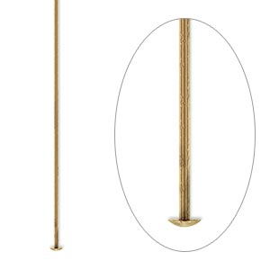 Headpin, Antique Gold-plated Brass, 2 Inches, 21 Gauge. Sold Per Pkg 100