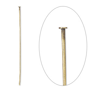 Headpin, Antique Gold-plated Brass, 1-1/2 Inches, 24 Gauge. Sold Per Pkg 100