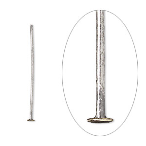 Headpin, Antique Silver-plated Brass, 1 Inch, 21 Gauge. Sold Per Pkg 100