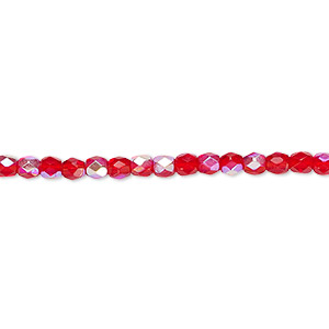 Bead, Czech Fire-polished Glass, Light Red AB, 3mm Faceted Round. Sold Per 16-inch Strand 152-19001-00-3mm-90080-28701