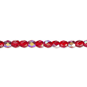 Bead, Czech Fire-polished Glass, Light Red AB, 4mm Faceted Round. Sold Per 16-inch Strand 152-19001-00-4mm-90080-28701